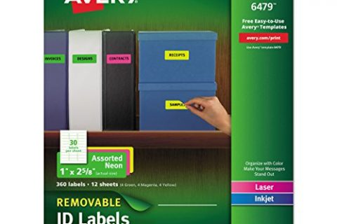 Avery Multipurpose Labels, Removable, Assorted Neon, 1 x 2.625 Inches, Pack of 360 6479