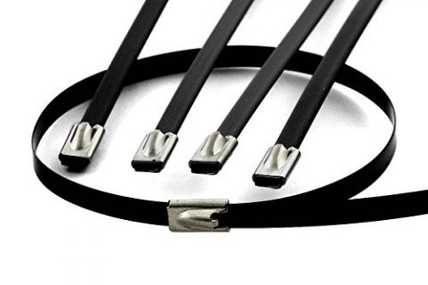 10pcs 12″ 300mm Long Stainless Steel Wrap/Cable Zip Tie Black
