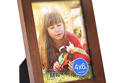 RPJC 4×6 Picture Frame Made of Solid Wood High Definition Glass for Table Top Display and Wall mounting Photo Frame Brown