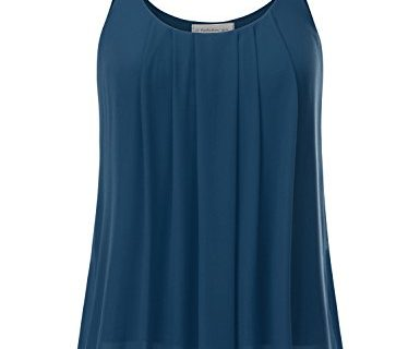 JJ Perfection Women's Pleated Chiffon Layered Cami Tank Top Teal 3XL