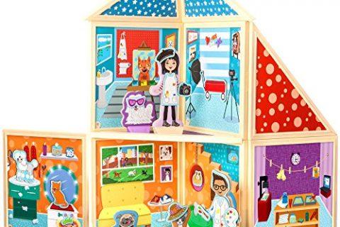 Build & Imagine: Pet Portrait Studio magnetic building set with wooden dress-up pets