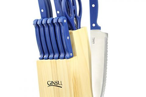 Ginsu Essential Series 14-Piece Stainless Steel Serrated Knife Set – Cutlery Set with Blue Kitchen Knives in a Natural Block, 03881DS