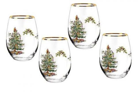 Spode Christmas Tree Stemless Wine Glasses Set of 4