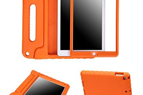 HDE Case for iPad 9.7-inch 2018 / 2017 Kids Shockproof Bumper Hard Cover Handle Stand with Built in Screen Protector for New Apple Education iPad 9.7 Inch 6th Gen / 5th Generation iPad 9.7 – Orange