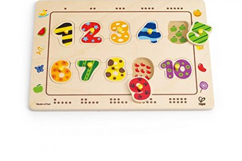 Hape Numbers Matching Wooden Toddler Peg Puzzle