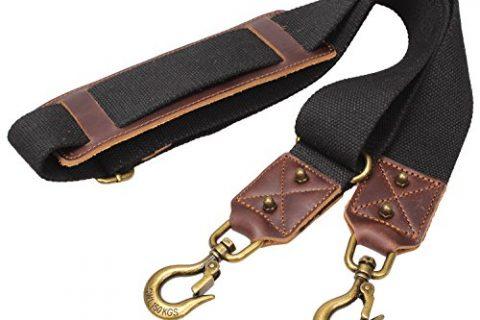 Replacement Padded Luggage Shoulder Strap With Huge Metal Hooks For Travel Weekender Bag #J-001 Black