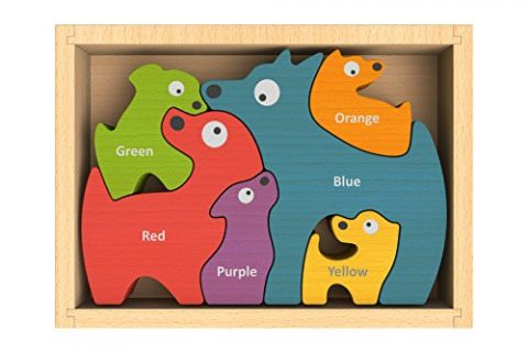 BeginAgain – Dog Family Color Names Puzzle, Make Learning Fun and Help Spark Your Child's Imagination, Bilingual Wooden Colors Puzzle For Kids 2 and Up