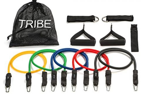 with Door Anchor, Handles and Ankle Straps – For Resistance Training, Physical Therapy, Home Workouts, Yoga, Pilates – Stackable Up To 105 lbs – Tribe 11PC Premium Resistance Bands Set, Workout Bands