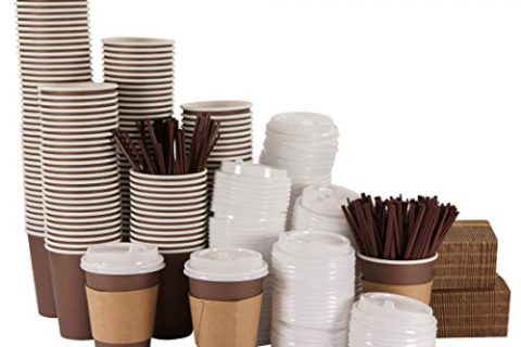 12 Oz Disposable Hot Paper Coffee Cups with Lids, Sleeves and Stirring Straws – bilubah 140 Pack – Complete Supply for Offices, Restaurants, Coffee Shops, Parties, Home and All the People on the Go
