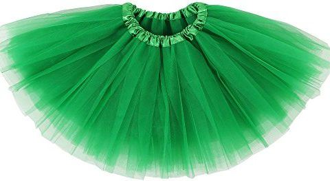 Simplicity Little Girl's Classic Elastic Layer Tulle Tutu Skirt, Sante Green