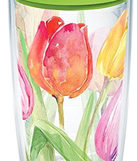 Tervis 1169187 Tea For Tulips Tumbler with Wrap and Lime Green Lid 16oz, Clear