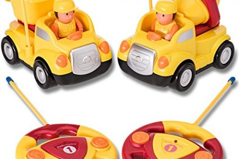 Pack of 2 Construction Cartoon R/C Toys Cement Truck and Dump Truck Radio Control Toys for Kids with 2.4Ghz Frequency So Both Can Race Together
