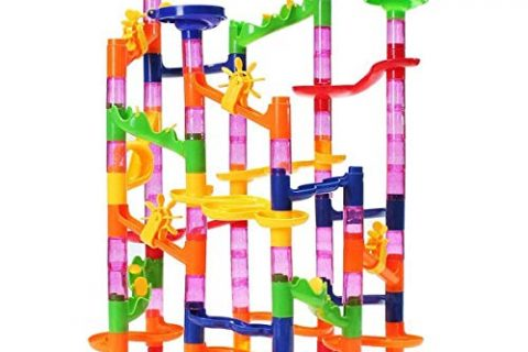 FUNTOK Marble Run Toy, Marble Race Coaster Set Marble Run Railway Toys Construction Building Blocks Toys Set Gift for Kids Toddler 105pcs