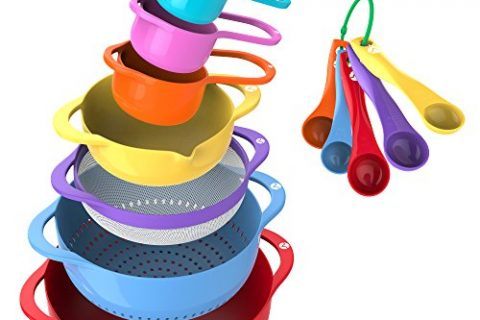 Colorful Kitchen Bowls Colander Mesh Strainer with Handles Measuring Cups and Spoons – Vremi 13 Piece Mixing Bowl Set – BPA Free Plastic Nesting Bowls with Easy Pour Spout for Baking Cooking and More