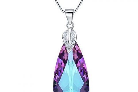 EleQueen 925 Sterling Silver CZ Teardrop Leaf Pendant Necklace Vitrail Light Made with Swarovski Crystals