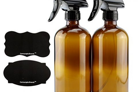 16-Ounce Amber Glass Spray Bottles w/Reusable Chalk Labels 2 Pack, Heavy Duty Mist & Stream 3-Setting Sprayer; Great for Essential Oils