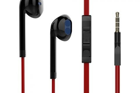 Reddie Wired Earbuds Stereo in Ear Earphones Headphones with Microphone and Volume Control Black and Red