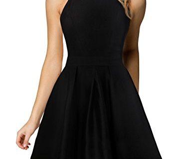 Berydress Women's Halter Neck A-Line Semi Formal Short Backless Black Cocktail Party Dress