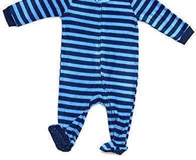 Leveret Boys Footed Fleece Sleeper Pajama 12-18 Months, Navy & Blue