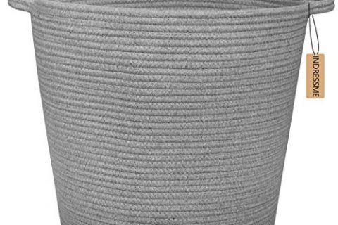 INDRESSME Extra Large Storage Baskets Cotton Rope Basket Woven Baby Laundry Basket with Handle for Diaper Toy Cute Home Decor Addition Diaper Toy 16.0″x 15.0″x12.6″, Grey