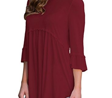 HOTAPEI Ladies 3 4 Sleeve T Shirts Casual Loose Flowy Tops and Blouses Wine XL