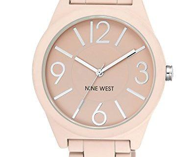 Nine West Women's NW/1679PKPK Matte Pink Rubberized Bracelet Watch
