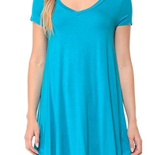 Shamaim Womens Short Sleeve Flattering Comfy Tunic Loose Fit Flowy Top