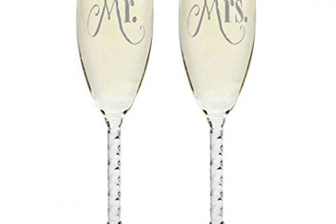 Toasting Gift Sets – For Couples – Engagement, Wedding, Anniversary – Mr. & Mrs. Silver Champagne Flutes With Gift Box – Wedding Glasses For Bride & Groom
