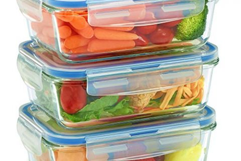 Oven, Dishwasher, Microwave, Freezer Safe – Glass Meal Prep Containers for Food Storage and Prep w/Snap Locking Lids Airtight & Leak Proof – Odor and Stain Resistant – BPA Free