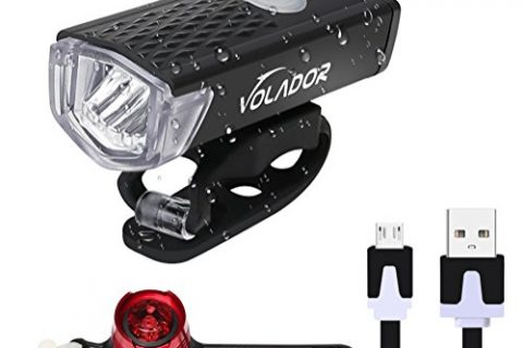 VOLADOR Bike Light Set, Bike Headlight USB Rechargeable, LED Bike Front Light & Taillight, Water Resistant Cycling Light for Street/Mountain/ Kids Bikes