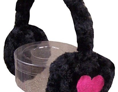 N'Ice Caps Girls Soft Velboa Faux Fur Ear Muffs with Heart Embroidery
