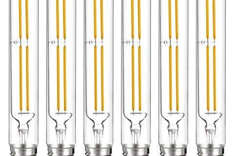 Hyperikon T10 Dimmable LED Filament Bulb, 5W 40W Equivalent, 470 lumen, 2700K Soft White Glow, E26 Base Medium Screw Base, CRI 90+, 6-Pack