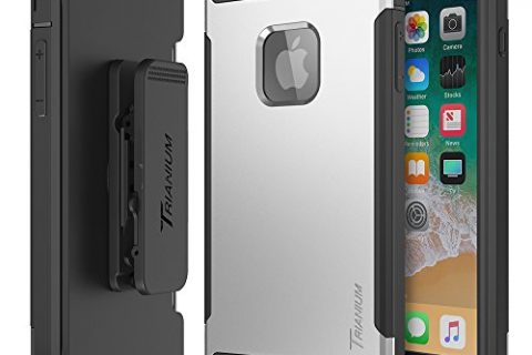 Trianium iPhone 8 Plus Case Duranium Series Rugged Holster Heavy Duty Cover with Built-in Screen Protector for Apple iPhone 8 Plus Phone 2017 Belt Clip Kickstand Full Body Protection – Silver