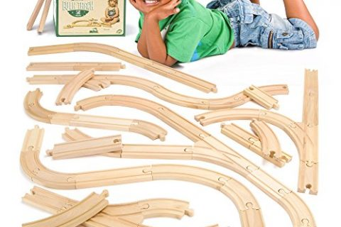 Conductor Carl 56-piece Bulk Value Wooden Train Track Pack Natural Wood Railways Expansion Set | Straight, Curved, Switch Tracks, and Adapter Pieces for Kids | Compatible with Major Toy Train Brands