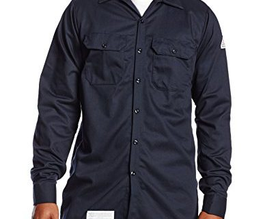 Bulwark Men's Flame Resistant 7 oz Cotton Work Shirt with Sleeve Vent, Navy Large