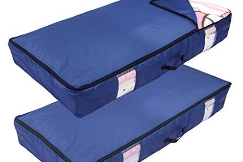 ACMETOP Ultra Large Under Bed Storage for Clothes, Blanket, Comforters, Linen, Shoes, Household Under-Bed & Closet Organizer – Durable & Reusable 2-Pack, Navy