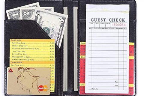 Mymazn Waiter Book Server Wallet Server Pads Waitress Book Restaurant Waitstaff Organizer, Guest Check Book Holder Money Pocket Fit Server Apron Black