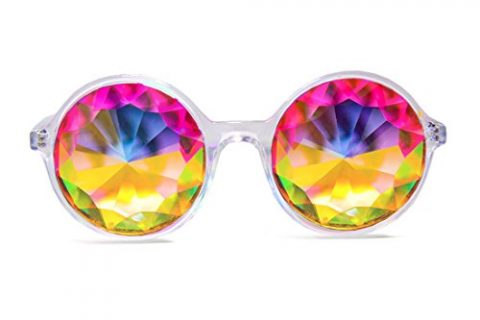 Xtra Lite Clear Kaleidoscope Glasses Lightweight Glass Crystal EDM Festival Diffraction