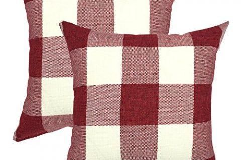 YOUR SMILE Christmas Classic Retro Farmhouse Buffalo Tartan Checkers Plaid Cotton Linen Decorative Throw Pillow Case Cushion Cover Pillowcase for Sofa 18 x 18 Inch, Set of 2, Red White