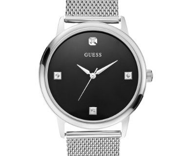 GUESS Silver-Tone Mesh Diamond Watch