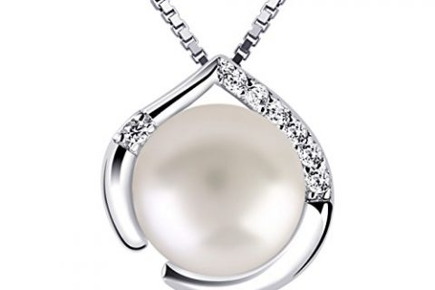 B.Catcher Pearl Jewelry for Women Heart Pendant Necklace 925 Sterling Silver Cubic Zirconia with 45cm Chain