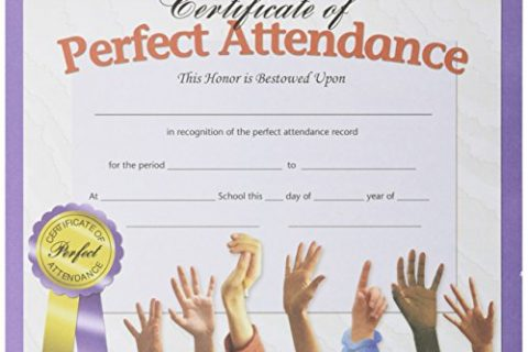 Hayes Perfect Attendance Certificate, 8-1/2 X 11 in, Paper, Pack of 30