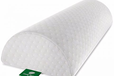Cushy Form Back Pain Relief Half-Moon Bolster/Wedge – Memory Foam Semi-Roll Leg/Knee Pillow with Washable Organic Cotton Cover Large, White – Provides Best Support for Sleeping on Side or Back