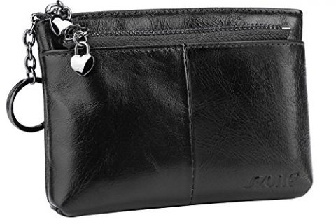 S-ZONE Women's Genuine Leather Mini Wallet Change Coin Purse Card Holder with Key Ring Black