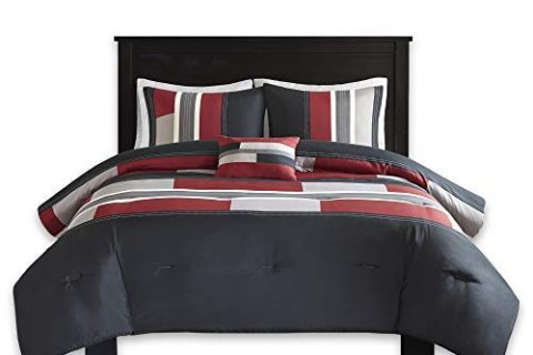 Boys – Pierre Comforter Set – Multi-Color Pipeline Panels – Comfort Spaces – Black/Red – Twin/Twin XL Size, Includes 1 Comforter, 1 Sham, 1 Decorative Pillow – 3 Piece – Perfect for Dormitory