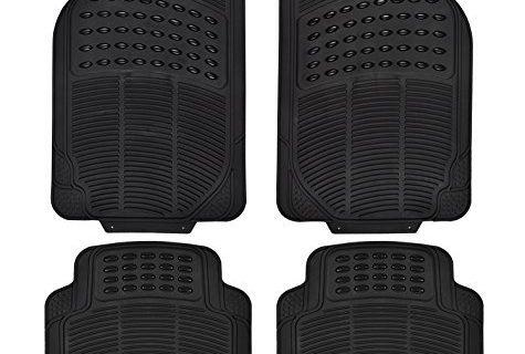 Duty Rubber Floor Mats Full Set Ridged Heavy Universal Fit Mat for Car SUV Van Trucks Front Rear Driver Passenger Seat Floor Mats Black 4PC black-3