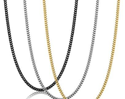 FIBO STEEL 3Pcs 2MM Stainless Steel Curb Link Chain for Men Women Necklace Chain,16-30 Inches
