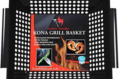 Kona Best Vegetable Grill Basket – Safe/Clean Porcelain Enameled BBQ Grilling Basket Large 12x12x3 inches for Veggies, Kabobs, Seafood, Meats