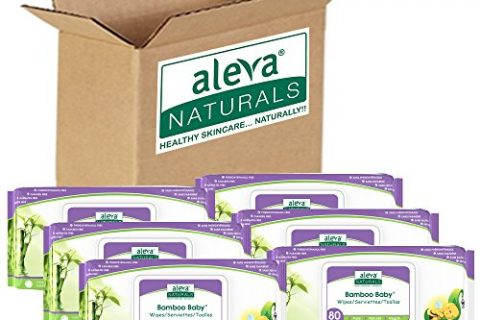 Aleva Naturals Bamboo Baby Wipes | Perfect for Sensitive Skin | Extra Strong and Ultra Soft | Natural and Organic Ingredients | Certified Vegan | 6 Packs of 80ct – Total of 480ct