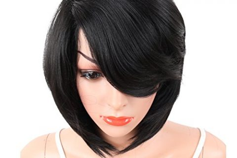 KRSI Short Pixie Cut Straight Bob Synthetic Wigs for Women Heat Resistant Costume African American Wigs with Bangs Natural Black Full Wigs That Look Real+Free Wig Cap Black 2